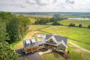aerial view of front of custom home built by True Living