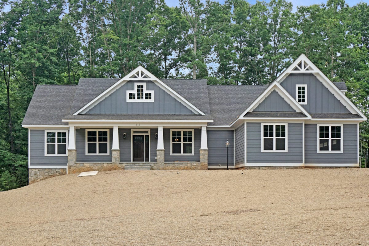Front of grey custom home