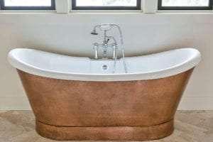 bath tub in custom bathroom