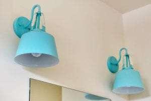blue light fixtures in bathroom
