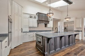 kitchen with grey cabinets