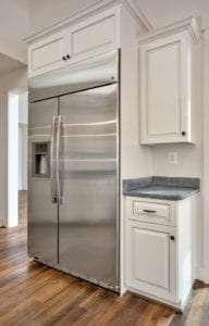 kitchen view with fridge