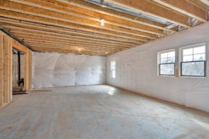 unfinished basement in custom home