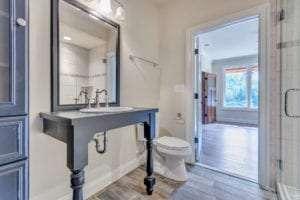 modern farm style vanity in bathroom