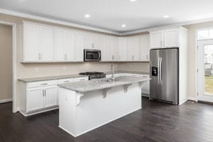 kitchen island and fridge